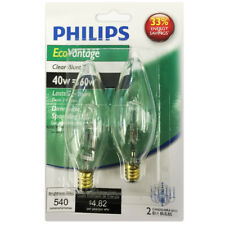Philips 40w 120v B11 E12 Clear 2900k Halogen Decorative Light Bulb - 2 pack
