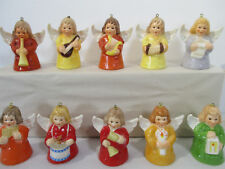 Goebel Christmas Angel Bell Annual Holiday Ornament 10 Pieces Vtg 1976 to 1990