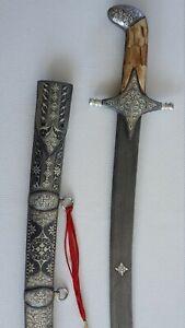 Mughal, Arabic Turkish Indo Persian Kilij Sword With Silver Koftgari And Damas