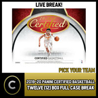 2019-20 PANINI CERTIFIED BASKETBALL 12 BOX CASE BREAK #B253 - PICK YOUR TEAM