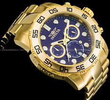 Invicta 50mm Pro Diver Chronograph Blue Dial 18K Gold Plated S S Bracelet Watch