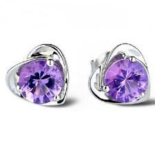 *UK SELLER* Pretty Amethyst 925 Sterling Silver Heart Stud Earrings