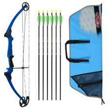 Genesis Archery Original Bow (Left Hand, Blue) with 6 Nasp Arrows and Case