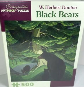 Pomegranate Puzzle Black Bears W. Herbert Dunton 500 Pieces Jigsaw puzzle