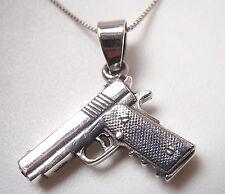 Pistol 925 Sterling Silver Pendant Corona Sun Jewelry Gun