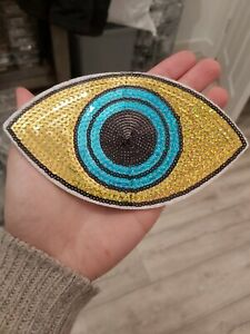 Large Blue eye patch sequin motif 160x92mm iron on crafts sewing