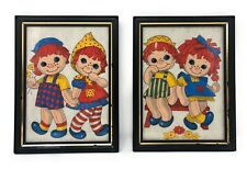Raggedy Ann & Andy Felt Art - Vintage 60s - Framed Art