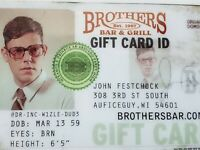 Brother's Bar and Grill Gift Card $25 VALUE Use at any location.