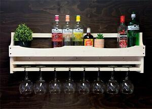 Wine Rack Gin Shelf Bottle & 8 Gin Glass Holder Home Bar Shabby Chic (8GSC)EL