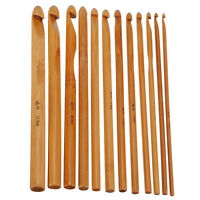 12 Sizes Bamboo Handle Crochet Hook Knit Weave Yarn Craft Knitting Needle Set 6""