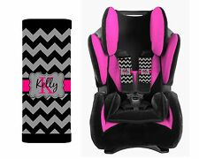 PERSONALIZED BABY TODDLER CAR SEAT STRAP COVERS BLACK AND GRAY CHEVRON HOT PINK
