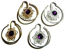 MANDALA HOOP EARRINGS hangers for gauged tunnels gauge hooks purple bohemian W6