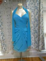 Allure Bridals Bridesmaids Short Plus Chiffon dress blue size 22 sweetheart