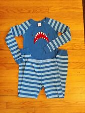 Hanna Andersson Pajamas PJ Set Size 140 / 10 Blue Stripe Shark Organic Cotton