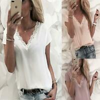 Womens Summer Lace Loose Short Sleeves Ladies Casual V-Neck Tops Blouse T-Shirt