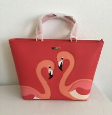 KATE SPADE TAKE A WALK ON THE WILD SIDE JULES GERANIUM LEATHER FLAMINGO TOTE