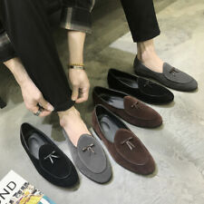 Mens Suede Slip on Loafers Flats Bowtie Dress Shoes Driving Moccasin Gomminos SZ