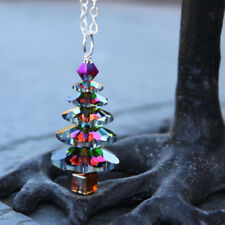 Color Changing Christmas Tree Silver Necklace Crystal Vitrail Blue Green Rainbow