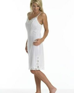 Ladies Luxury Ribbon Strap Full Slip with Adjustable Straps Lace Trim and Vent