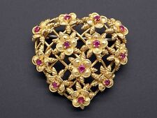 Tiffany & Co 18k Yellow Gold .78ct Round Ruby Flower Heart Brooch Pin