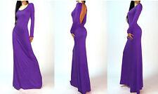 Women Backless  Open Cutout Back Long Sleeve Long Maxi Dress 4 Colors