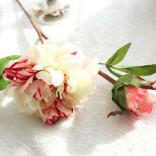 Bouquet Artificial Fake Peony Silk Flower Wedding Party Home Garden Decor White