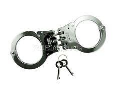 REAL Handcuffs SILVER Double Lock TRIPLE HINGED Police Hand Cuffs W/ 2 Keys JC04