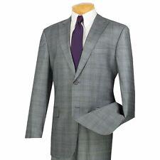 VINCI Men's Gray Glen Plaid 2 Button Classic Fit Suit w/ Peak Lapel NEW