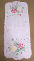 Vintage Embroidered Table Runner Yellow Red Roses Pink Needlework Border
