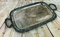 """Vintage silverplate Serving Tray 24"""" x 13"""" McClean trucking 25 yr service heavy"""