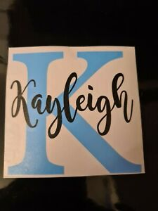 Personalised Name and intial VINYL DECALS sticker gift glass diy home