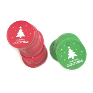100Pcs Tags Gift Christmas Xmas Paper Hanging Label Tree Star Round Card Decor