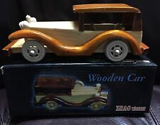 New VINTAGE WOODEN HANDCRAFTED ANTIQUE CLASSICAL CAR TOY Handmade decoration