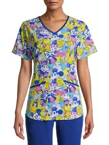 NWT Disney Mickey Mouse Minnie Scrub Top Womens Size S-L Donald Duck Goofy Daisy