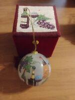 Hand-painted, Glass, Wine Themed Ornament + Handmade decorative gift box.