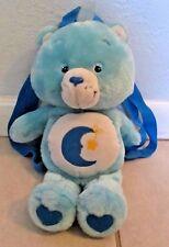 """RARE Care Bear Blue BEDTIME Bear Mini Backpack Purse Moon Star 13"""" Plush 2003"""