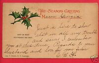 MACON GA GEORGIA SEASON'S GREETINGS CHRISTMAS1907 OSTRANDER NEW YORK NY POSTCARD