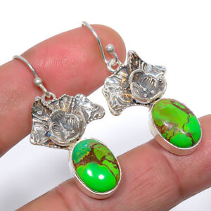"""Copper Mohave Green Turquoise Designer Textured 925 Silver Earring 1.8"""" M1552"""