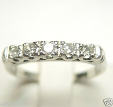 Antique Diamond Wedding Band Platinum Ring Size 5.5 EGL USA Art Deco Vintage