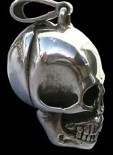 925 Sterling Silver Poison Pillbox Lock Skull Pendant Moveable Jaw