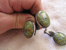 Vintage Green Modern Enamel on Copper Cufflinks and Tie Clip