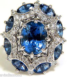 GIA 9.10CT Joyau Naturel Sans Chaleur Saphir Diamant Bague Cocktail non Chauffé