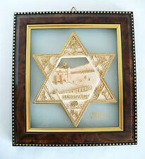 Star of David Jerusalem on Murano Glass Framed w Gold Tone Trim