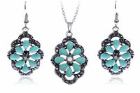 Silver Flower Turquoise Gray Rhinestone Necklace Earring Set Party Jewelry Gift