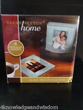Sarah Peyton Home 4 Solid Glass Photo Gift Square Coasters with Wood Holder