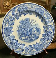 "Spode Blue Room Rural Scenes 10 1/2"" Dinner Plate Made in England - Pristine"