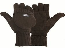 Highlander Winter Thinsulate MITTS, Large Black Fingerless Gloves Suede Palm