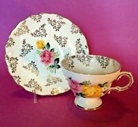 Crown Pedestal TeaCup And Saucer - Pink & Yellow Roses - Gold Accents - England