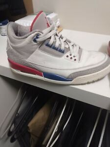 AIR JORDAN 3 International Flight Sail Blue Red Sz 12 136064-140 Lite Worn RARE