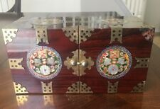Korean Double Cube Jewelry Box w/Wood Inlay and Mother of Pearl